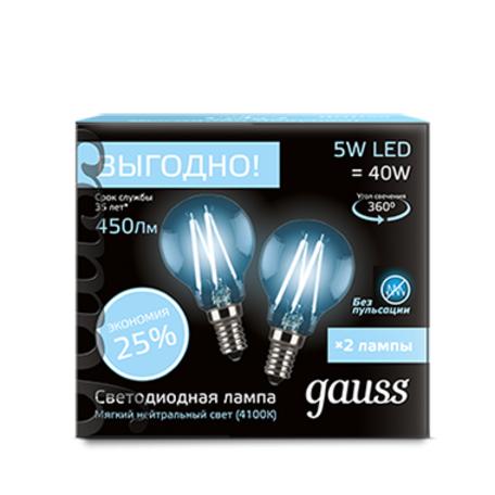 Филаментная светодиодная лампа Gauss 105801205P G45 E14 5W, 4100K (холодный) CRI>90 150-265V, гарантия 3 года
