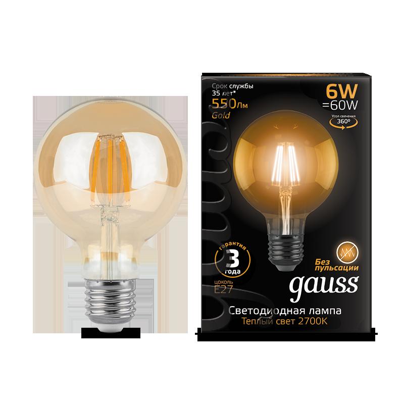 Филаментная светодиодная лампа Gauss 105802006 шар E27 6W, 2400K (теплый) CRI>90 185-265V, гарантия 3 года - фото 1