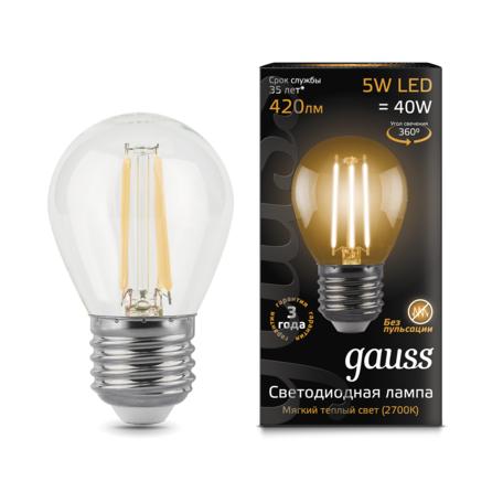 Филаментная светодиодная лампа Gauss 105802105 шар E27 5W, 2700K (теплый) CRI>90 185-265V, гарантия 3 года