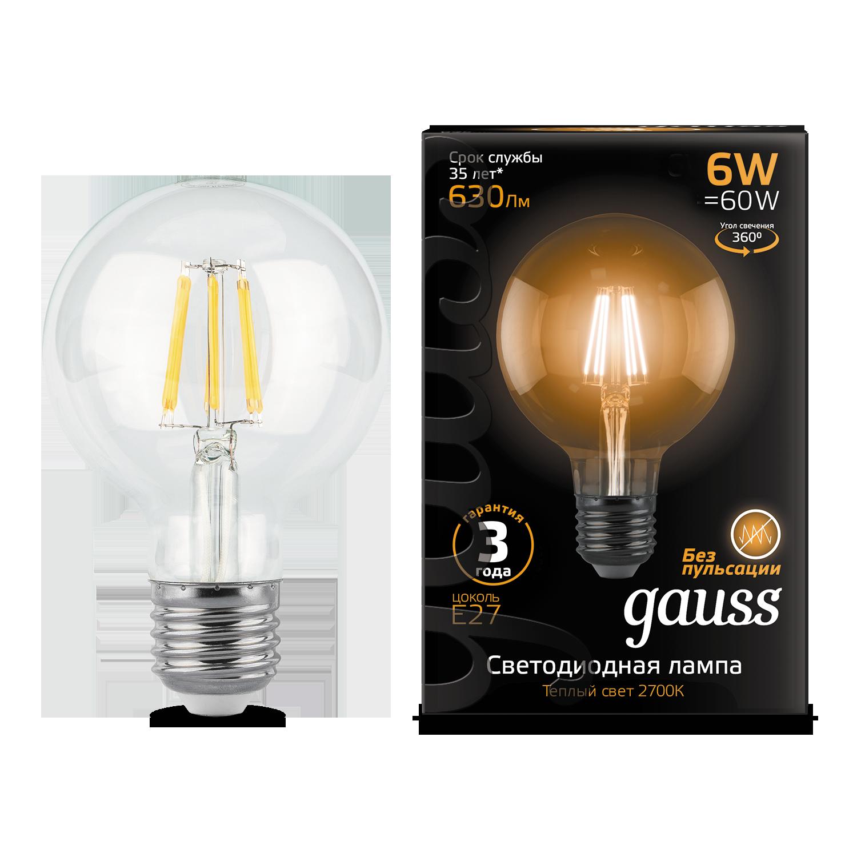 Филаментная светодиодная лампа Gauss 105802106 шар E27 6W, 2700K (теплый) CRI>90 185-265V, гарантия 3 года - фото 1