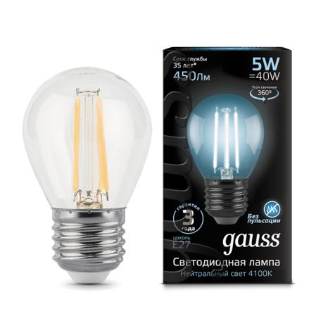 Филаментная светодиодная лампа Gauss 105802205 шар E27 5W, 4100K (холодный) CRI>90 185-265V, гарантия 3 года