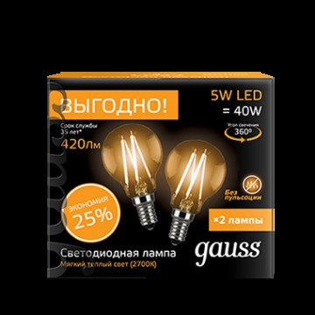 Филаментная светодиодная лампа Gauss 105801105P G45 E14 5W, 2700K (теплый) CRI>90 150-265V, гарантия 3 года
