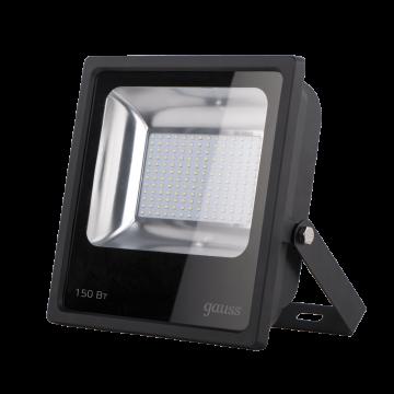 Светодиодный прожектор Gauss Q Plus морозоустойчивый 613100150, IP65, LED 150W 6500K 14000lm CRI>75, черный, металл, стекло
