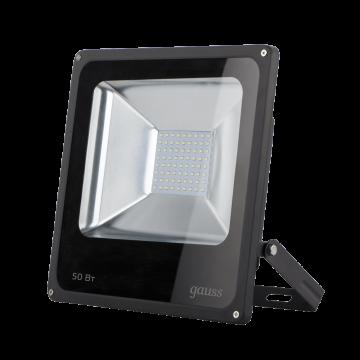 Светодиодный прожектор Gauss Elementary 613100350, IP65, LED 50W 6500K 3500lm CRI>75, черный, металл, металл со стеклом