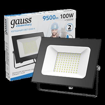 Светодиодный прожектор Gauss Elementary 613100100, IP65, LED 100W 6500K 6900lm CRI>75, черный, металл, металл со стеклом