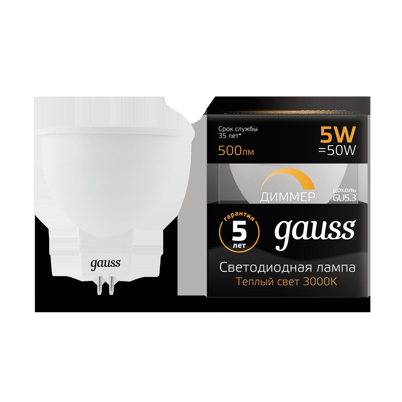 Светодиодная лампа Gauss 101505105-D MR16 GU5.3 5W, 3000K (теплый) CRI>90 175-265V, диммируемая, гарантия 5 лет - фото 1