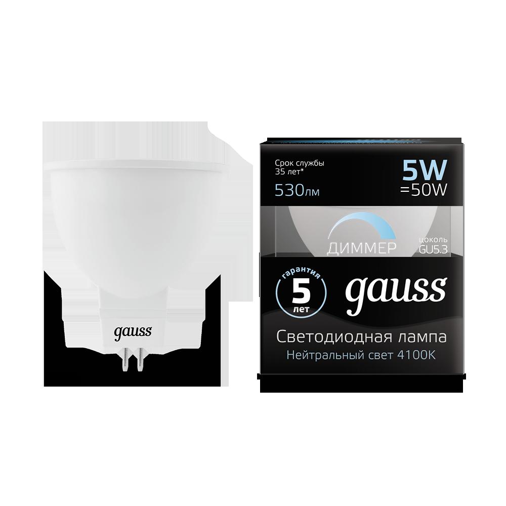 Светодиодная лампа Gauss 101505205-D MR16 GU5.3 5W, 4100K (холодный) CRI>90 175-265V, диммируемая, гарантия 5 лет - фото 1