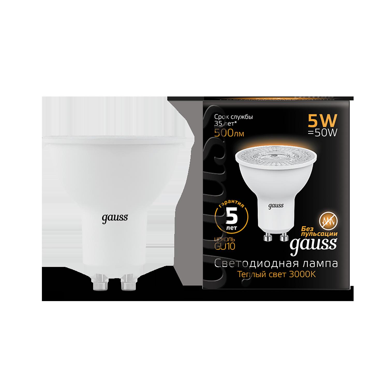 Светодиодная лампа Gauss 101506105 MR16 GU10 5W, 3000K (теплый) CRI>90 150-265V, гарантия 5 лет - фото 1