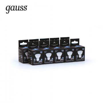 Светодиодная лампа Gauss 101506205 MR16 GU10 5W, 4100K (холодный) CRI>90 150-265V, гарантия 5 лет - миниатюра 3