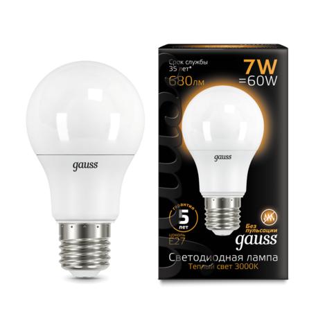 Светодиодная лампа Gauss 102502107 груша E27 7W, 3000K (теплый) CRI>90 150-265V, гарантия 5 лет