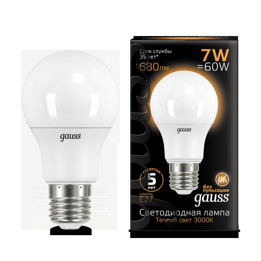 Светодиодная лампа Gauss 102502107 груша E27 7W, 3000K (теплый) CRI>90 150-265V, гарантия 5 лет - фото 1