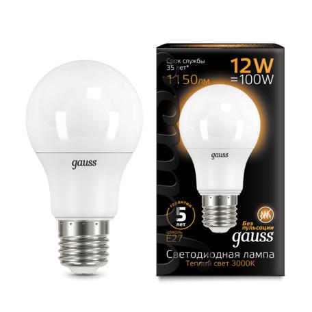 Светодиодная лампа Gauss 102502112 груша E27 12W, 3000K (теплый) CRI>90 150-265V, гарантия 5 лет