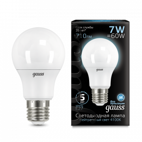 Светодиодная лампа Gauss 102502207 груша E27 7W, 4100K (холодный) CRI>90 150-265V, гарантия 5 лет