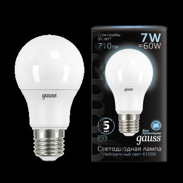 Светодиодная лампа Gauss 102502207 груша E27 7W, 4100K (холодный) CRI>90 150-265V, гарантия 5 лет - миниатюра 2