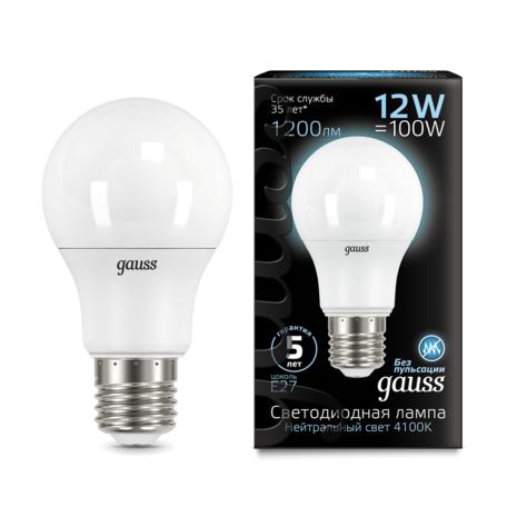 Светодиодная лампа Gauss 102502212 груша E27 12W, 4100K (холодный) CRI>90 150-265V, гарантия 5 лет