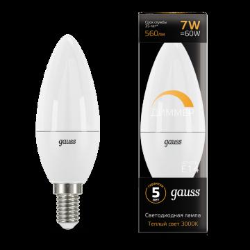 Светодиодная лампа Gauss 103101107 свеча E14 6,5W, 3000K (теплый) CRI>90 150-265V, гарантия 5 лет - миниатюра 2