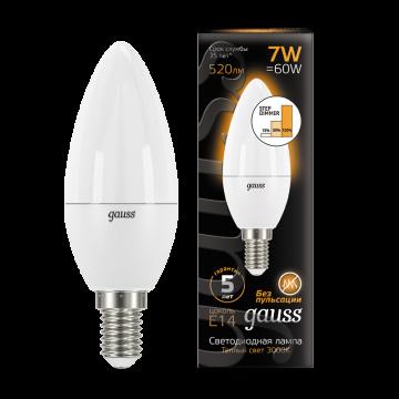 Светодиодная лампа Gauss 103101107 свеча E14 6,5W, 3000K (теплый) CRI>90 150-265V, гарантия 5 лет - миниатюра 3