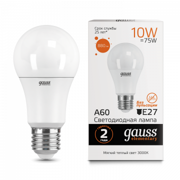 Светодиодная лампа Gauss Elementary 23210 груша E27 10W, 3000K (теплый) CRI>80 150-265V, гарантия 2 года