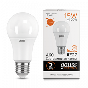 Светодиодная лампа Gauss Elementary 23215 груша E27 15W, 3000K (теплый) CRI>80 150-265V, гарантия 2 года