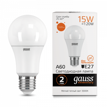 Светодиодная лампа Gauss Elementary 23215 груша E27 15W, 3000K (теплый) CRI>80 150-265V, гарантия 2 года - миниатюра 2