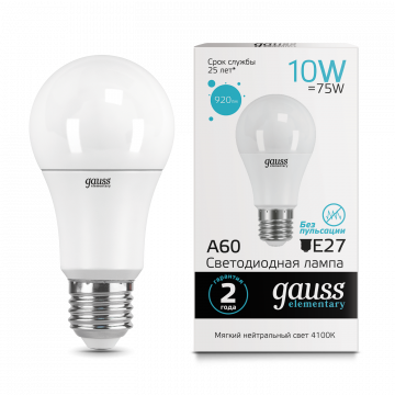 Светодиодная лампа Gauss Elementary 23220 груша E27 10W, 4100K (холодный) CRI>80 150-265V, гарантия 2 года
