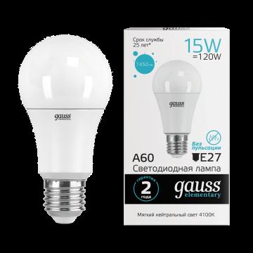 Светодиодная лампа Gauss Elementary 23225 груша E27 15W, 4100K (холодный) CRI>80 150-265V, гарантия 2 года