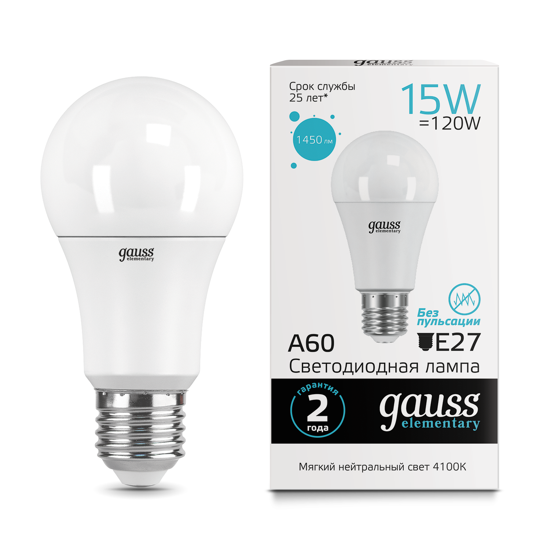 Светодиодная лампа Gauss Elementary 23225 груша E27 15W, 4100K (холодный) CRI>80 150-265V, гарантия 2 года - фото 1