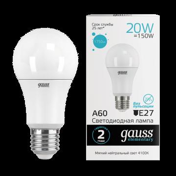 Светодиодная лампа Gauss Elementary 23229 груша E27 20W, 4100K (холодный) CRI>80 150-265V, гарантия 2 года
