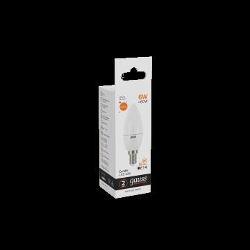 Светодиодная лампа Gauss Elementary 33116 свеча E14 6W, 3000K (теплый) CRI>80 180-240V, гарантия 2 года - миниатюра 6