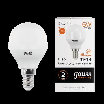 Светодиодная лампа Gauss Elementary 53116 шар E14 6W, 3000K (теплый) CRI>80 180-240V, гарантия 2 года