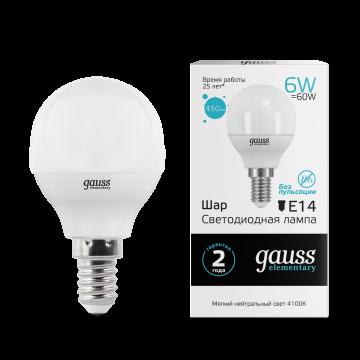 Светодиодная лампа Gauss Elementary 53126 шар E14 6W, 4100K (холодный) CRI>80 180-240V, гарантия 2 года