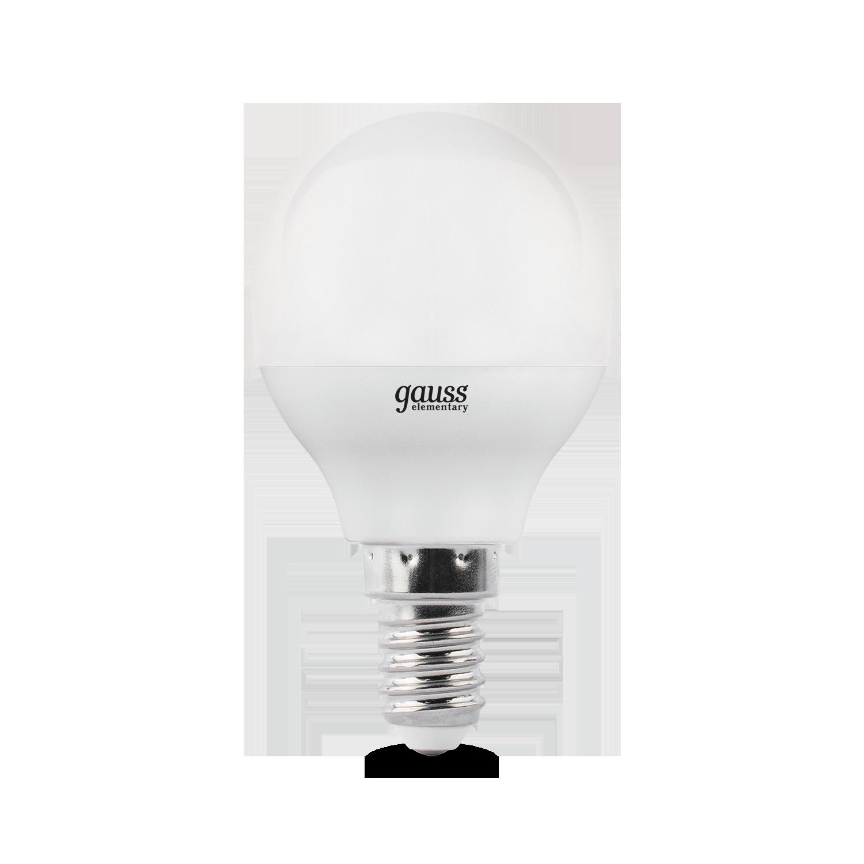 Светодиодная лампа Gauss Elementary 53126 шар малый E14 6W, 4100K (холодный) CRI>80 180-240V, гарантия 2 года - фото 2