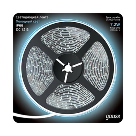 Светодиодная лента Gauss 311000307 IP66 SMD 5050 12V гарантия 1 год