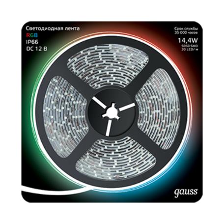 Светодиодная лента Gauss 311000414 IP66 SMD 5050 12V гарантия 1 год