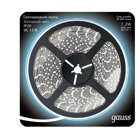 Светодиодная лента Gauss 312000307 SMD 5050 12V гарантия 1 год