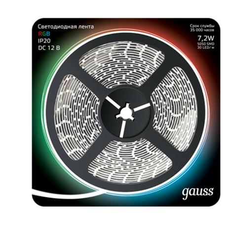 Светодиодная лента Gauss 312000407 SMD 5050 12V гарантия 1 год