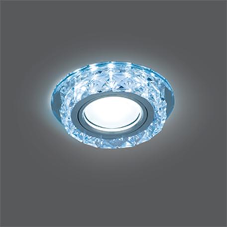 Встраиваемый светильник Gauss Backlight BL040, 1xGU5.3x50W + LED 4100K, хром, прозрачный, стекло