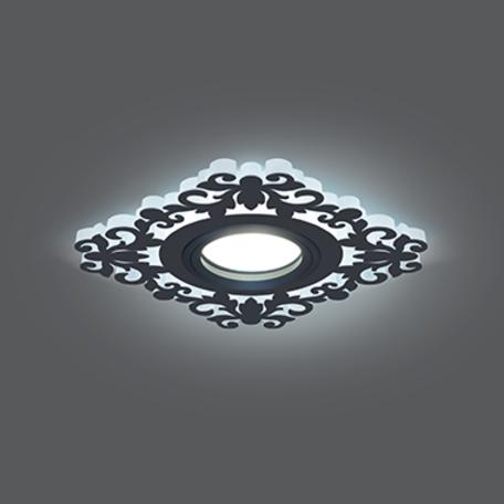 Встраиваемый светильник Gauss Backlight BL129, 1xGU5.3x50W + LED 3W 4000K, черный, черно-белый, металл