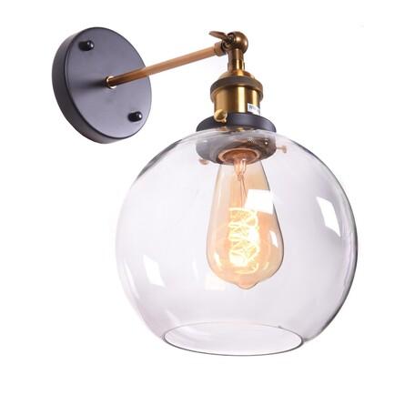 Настенный светильник Lumina Deco Navarro LDW 6802 PR, 1xE27x40W, черный, бронза, прозрачный, металл, стекло