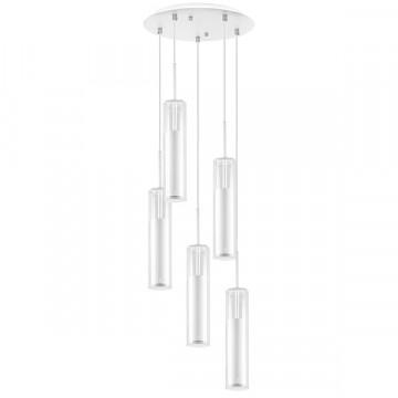 Люстра-каскад Lightstar Cilino 756056, 5xGU10x40W, белый, прозрачный, металл, стекло