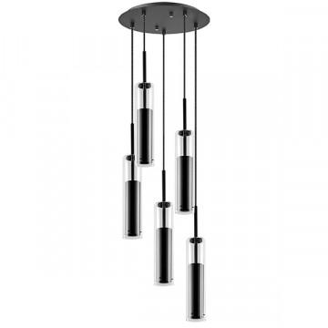 Люстра-каскад Lightstar Cilino 756057, 5xGU10x40W, черный, прозрачный, металл, стекло
