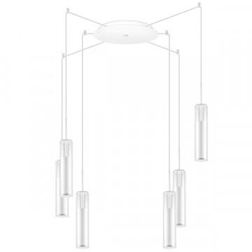 Люстра-паук Lightstar Cilino 756066, 6xGU10x40W, белый, прозрачный, металл, стекло