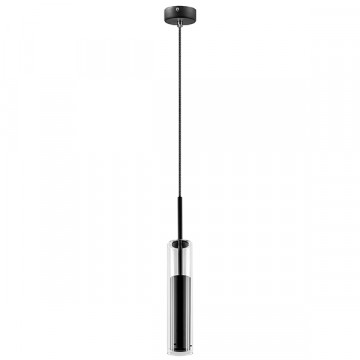 Подвесной светильник Lightstar Cilino 756017, 1xGU10x40W, черный, прозрачный, металл, стекло