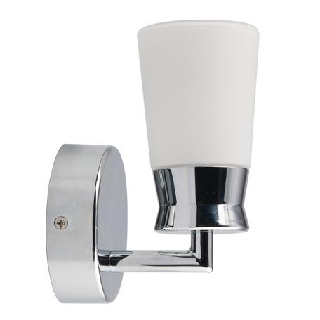 Светодиодное бра De Markt Аква 509024401, IP44, LED 5W 4000K 300lm, хром, белый, металл, стекло