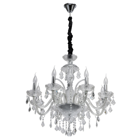 Подвесная люстра MW-Light Селена 482016808, 8xE14x60W, хром, прозрачный, стекло, хрусталь