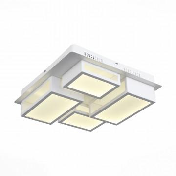 Потолочная светодиодная люстра с пультом ДУ ST Luce Mecano SL934.502.04, LED 65W 4000K, белый, металл, металл со стеклом/пластиком
