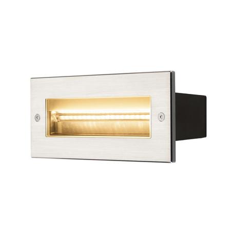 Встраиваемый настенный светодиодный светильник SLV BRICK ASYMETRIC 233660, IP65, LED 3000K, сталь, металл