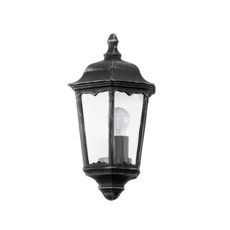 Настенный фонарь Eglo Navedo 93459, IP44, 1xE27x60W, прозрачный, черный с серебряной патиной, металл со стеклом