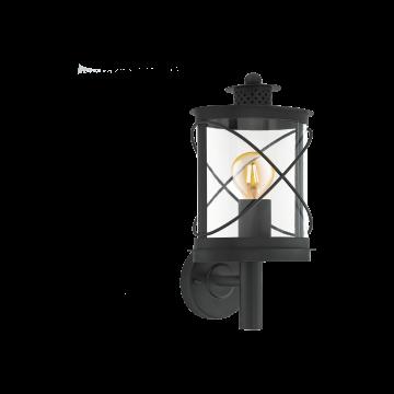 Настенный фонарь Eglo Hilburn 94842, IP44, 1xE27x60W, черный, прозрачный, металл, металл с пластиком