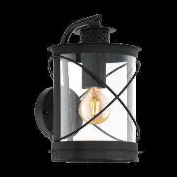Настенный фонарь Eglo Hilburn 94843, IP44, 1xE27x60W, черный, прозрачный, металл, металл с пластиком